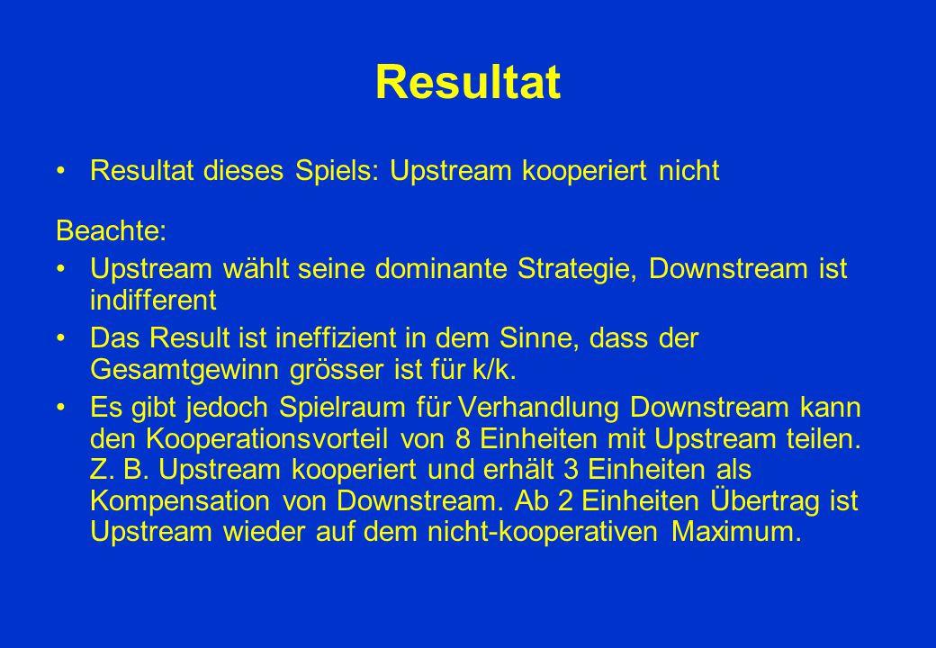 Resultat Resultat dieses Spiels: Upstream kooperiert nicht Beachte: Upstream wählt seine dominante Strategie, Downstream ist indifferent Das Result is