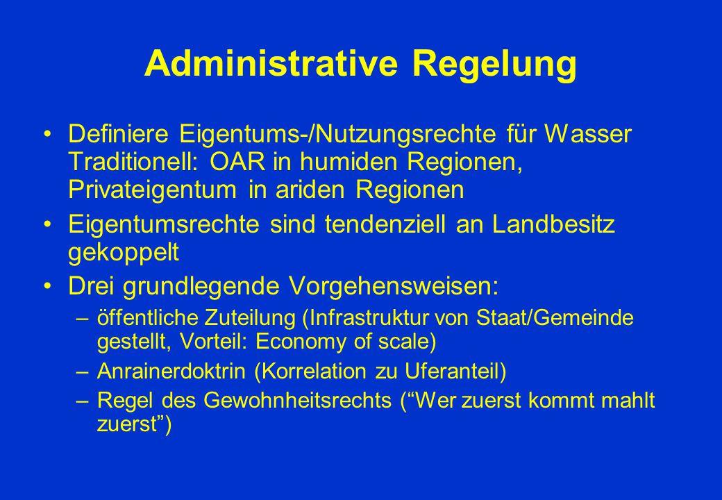 Administrative Regelung Definiere Eigentums-/Nutzungsrechte für Wasser Traditionell: OAR in humiden Regionen, Privateigentum in ariden Regionen Eigent