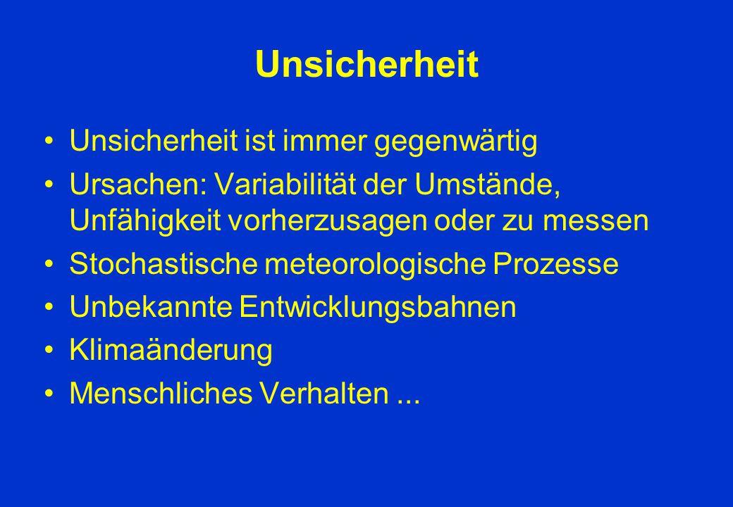 Unsicherheit Unsicherheit ist immer gegenwärtig Ursachen: Variabilität der Umstände, Unfähigkeit vorherzusagen oder zu messen Stochastische meteorolog