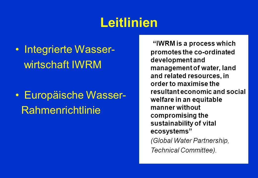 """Leitlinien Integrierte Wasser- wirtschaft IWRM Europäische Wasser- Rahmenrichtlinie """" """"IWRM is a process which promotes the co-ordinated development a"""