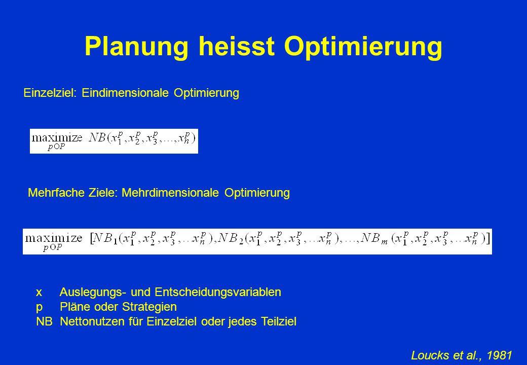 Planung heisst Optimierung Einzelziel: Eindimensionale Optimierung x Auslegungs- und Entscheidungsvariablen p Pläne oder Strategien NB Nettonutzen für