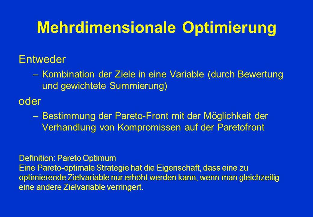 Mehrdimensionale Optimierung Entweder –Kombination der Ziele in eine Variable (durch Bewertung und gewichtete Summierung) oder –Bestimmung der Pareto-