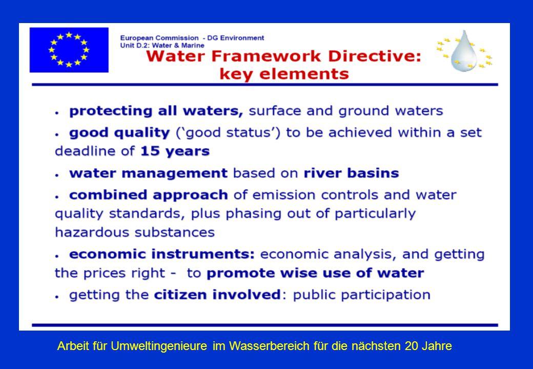 Arbeit für Umweltingenieure im Wasserbereich für die nächsten 20 Jahre