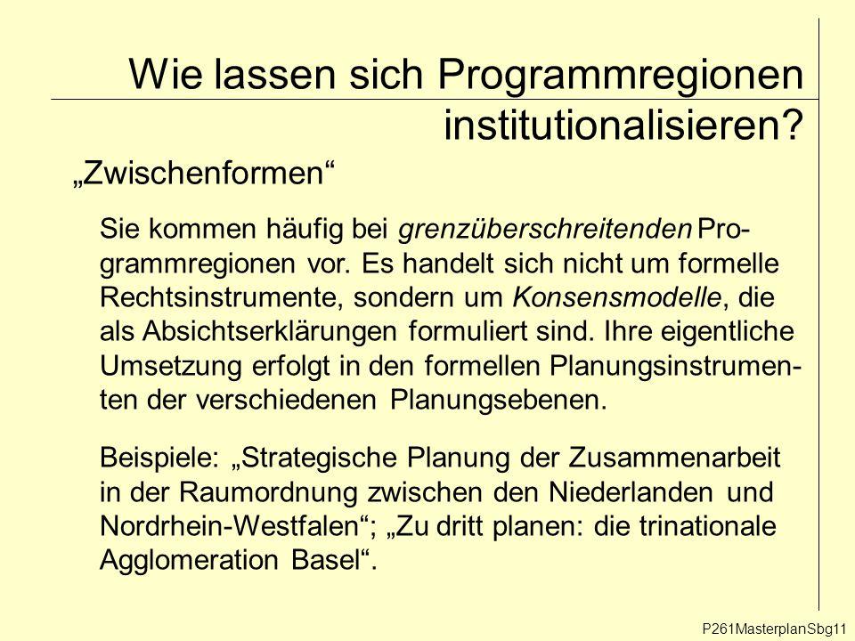 P261MasterplanSbg11 Wie lassen sich Programmregionen institutionalisieren.