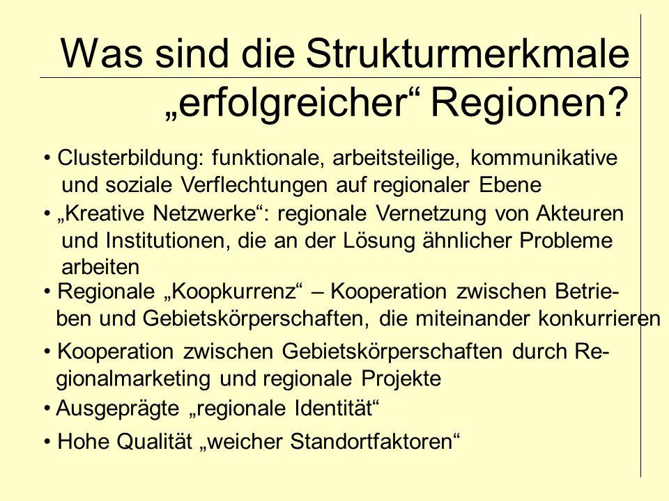 """Was sind die Strukturmerkmale """"erfolgreicher Regionen."""