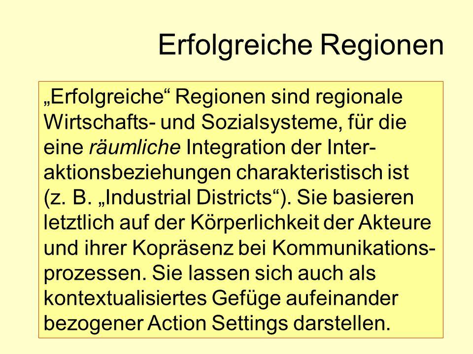 """Erfolgreiche Regionen """"Erfolgreiche Regionen sind regionale Wirtschafts- und Sozialsysteme, für die eine räumliche Integration der Inter- aktionsbeziehungen charakteristisch ist (z."""