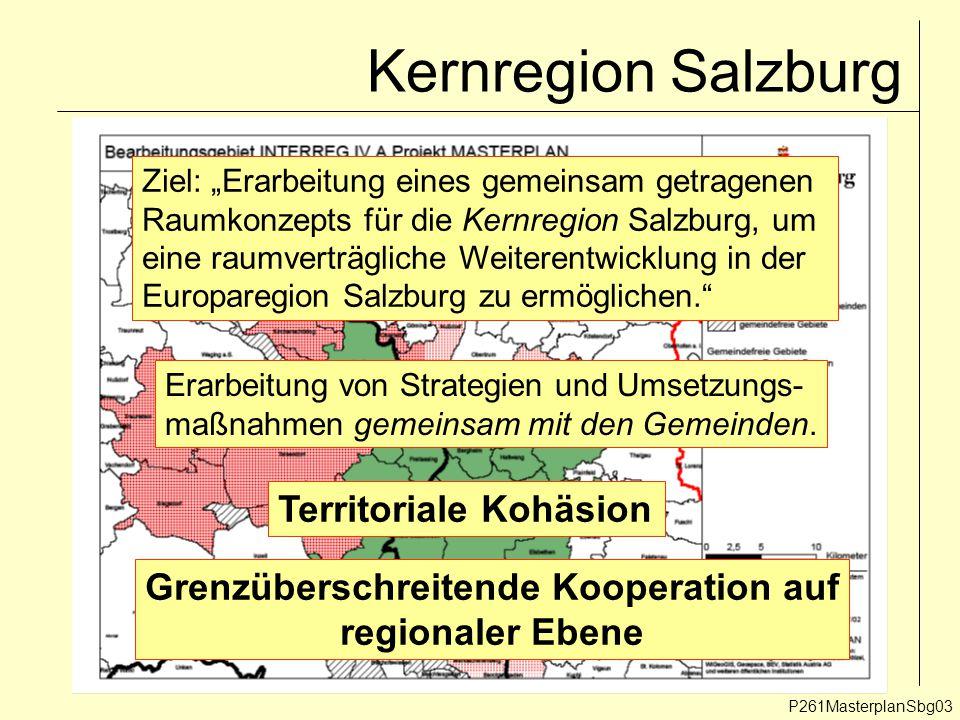 """Kernregion Salzburg P261MasterplanSbg03 Ziel: """"Erarbeitung eines gemeinsam getragenen Raumkonzepts für die Kernregion Salzburg, um eine raumverträgliche Weiterentwicklung in der Europaregion Salzburg zu ermöglichen. Erarbeitung von Strategien und Umsetzungs- maßnahmen gemeinsam mit den Gemeinden."""