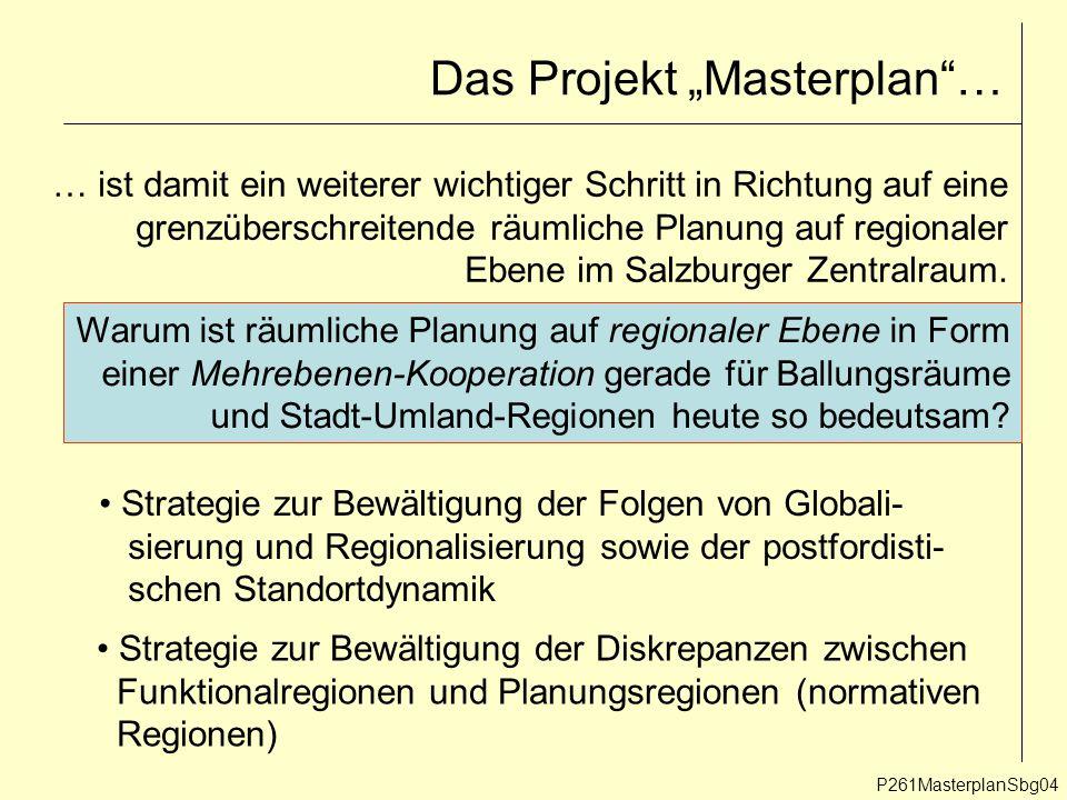 """Das Projekt """"Masterplan … P261MasterplanSbg04 … ist damit ein weiterer wichtiger Schritt in Richtung auf eine grenzüberschreitende räumliche Planung auf regionaler Ebene im Salzburger Zentralraum."""
