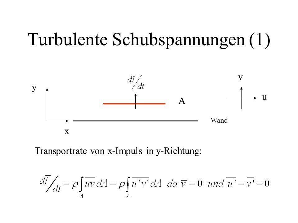 Turbulente Schubspannungen (1) Wand y x A v u Transportrate von x-Impuls in y-Richtung: