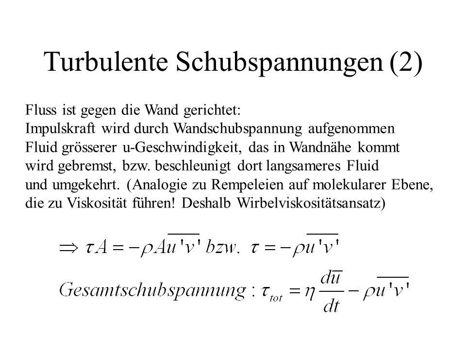 Turbulente Schubspannungen (2) Fluss ist gegen die Wand gerichtet: Impulskraft wird durch Wandschubspannung aufgenommen Fluid grösserer u-Geschwindigkeit, das in Wandnähe kommt wird gebremst, bzw.