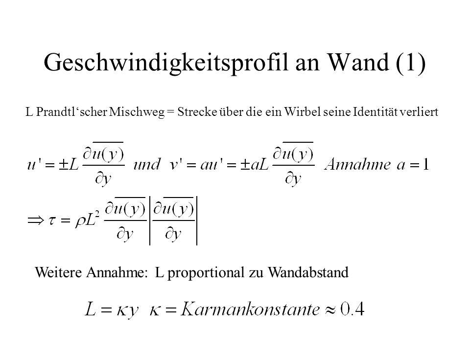 Geschwindigkeitsprofil an Wand (1) L Prandtl'scher Mischweg = Strecke über die ein Wirbel seine Identität verliert Weitere Annahme: L proportional zu Wandabstand