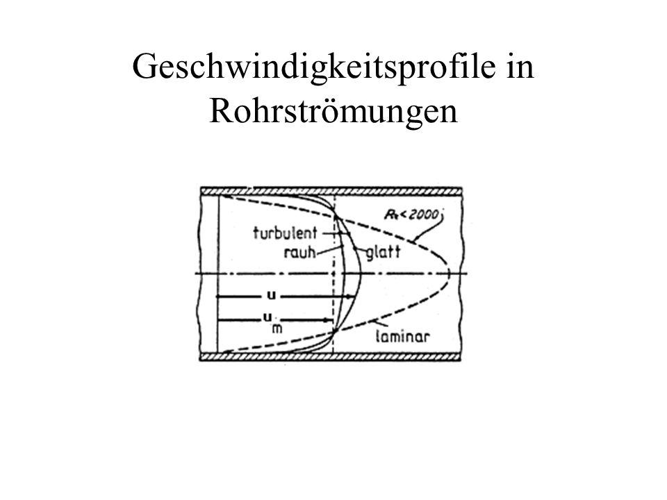 Geschwindigkeitsprofile in Rohrströmungen