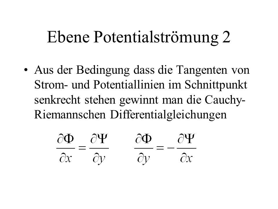 Ebene Potentialströmung 2 Aus der Bedingung dass die Tangenten von Strom- und Potentiallinien im Schnittpunkt senkrecht stehen gewinnt man die Cauchy- Riemannschen Differentialgleichungen