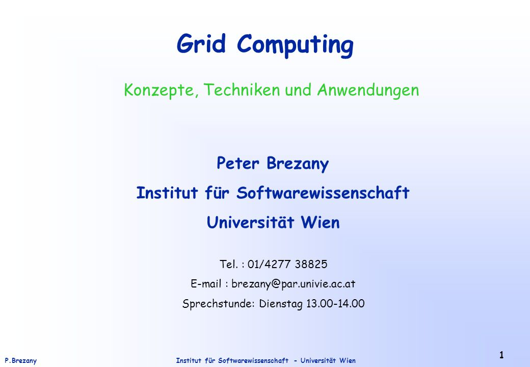 Institut für Softwarewissenschaft - Universität WienP.Brezany 72 The GridMiner Project in Vienna GridMiner : A knowledge discovery Grid infrastructure (http://www.gridminer.org/)  OGSA-based architecture  Workflow management  Grid-aware data preprocessing and data mining services  Data mediation service  OLAP service  GUI  Implementation on top of Globus Toolkit 3.0 Application : Management of patients with traumatic brain injuries