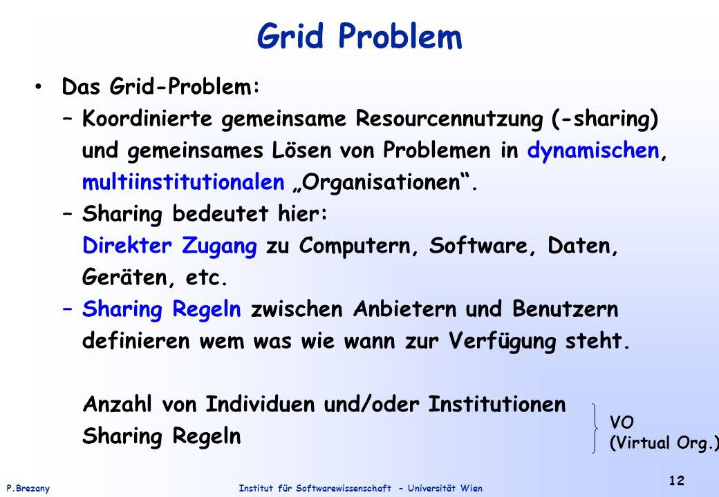 """Institut für Softwarewissenschaft - Universität WienP.Brezany 12 Grid Problem Das Grid-Problem: – Koordinierte gemeinsame Resourcennutzung (-sharing) und gemeinsames Lösen von Problemen in dynamischen, multiinstitutionalen """"Organisationen ."""