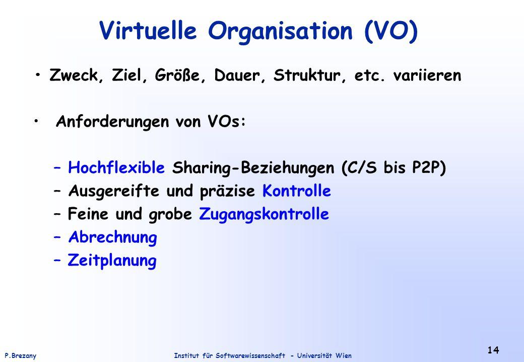 Institut für Softwarewissenschaft - Universität WienP.Brezany 14 Virtuelle Organisation (VO) Zweck, Ziel, Größe, Dauer, Struktur, etc.
