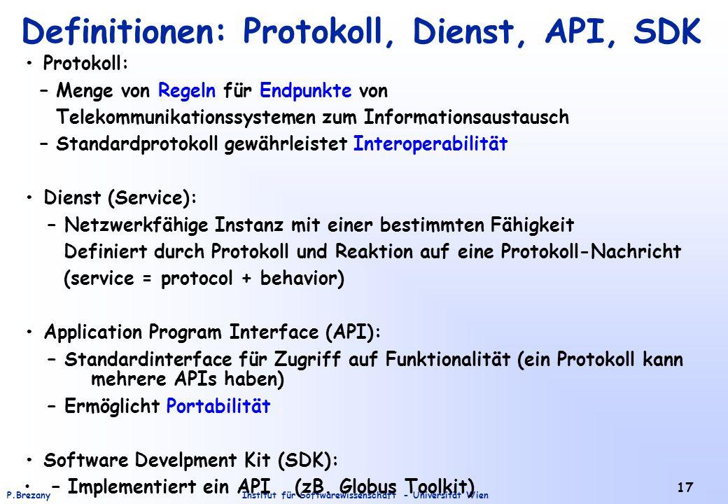 Institut für Softwarewissenschaft - Universität WienP.Brezany 17 Definitionen: Protokoll, Dienst, API, SDK Protokoll: – Menge von Regeln für Endpunkte
