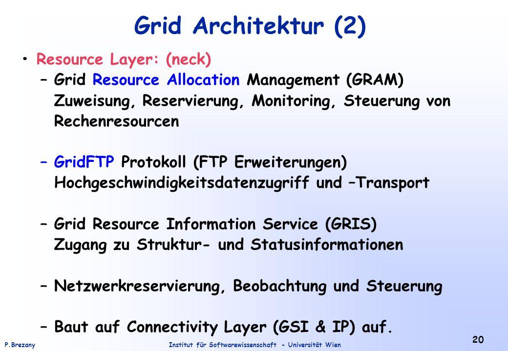 Institut für Softwarewissenschaft - Universität WienP.Brezany 20 Grid Architektur (2) Resource Layer: (neck) – Grid Resource Allocation Management (GR