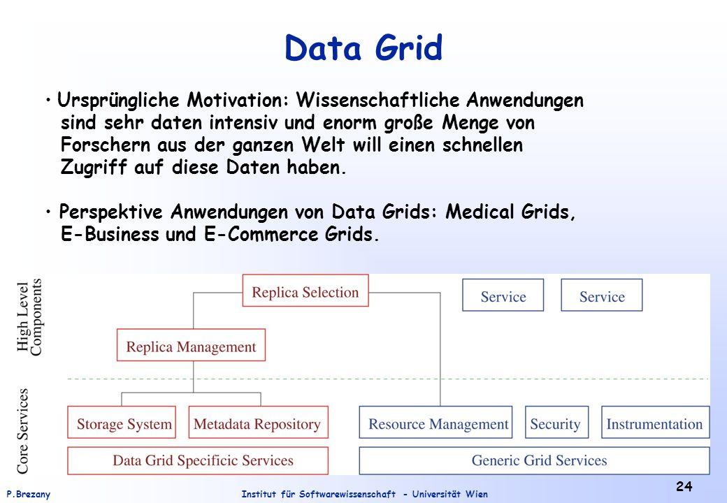 Institut für Softwarewissenschaft - Universität WienP.Brezany 24 Data Grid Ursprüngliche Motivation: Wissenschaftliche Anwendungen sind sehr daten intensiv und enorm große Menge von Forschern aus der ganzen Welt will einen schnellen Zugriff auf diese Daten haben.