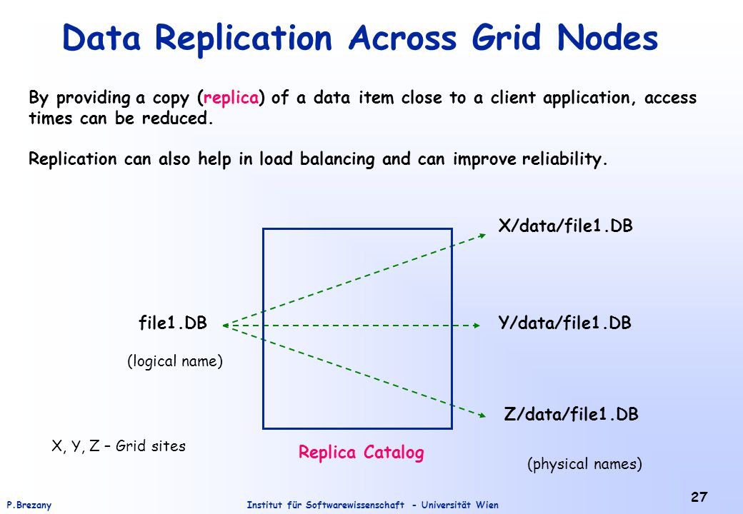Institut für Softwarewissenschaft - Universität WienP.Brezany 27 Data Replication Across Grid Nodes By providing a copy (replica) of a data item close to a client application, access times can be reduced.