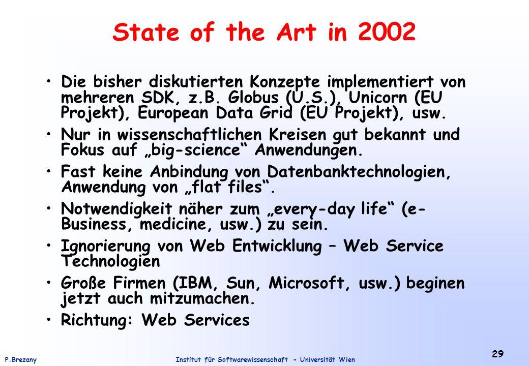 Institut für Softwarewissenschaft - Universität WienP.Brezany 29 State of the Art in 2002 Die bisher diskutierten Konzepte implementiert von mehreren SDK, z.B.