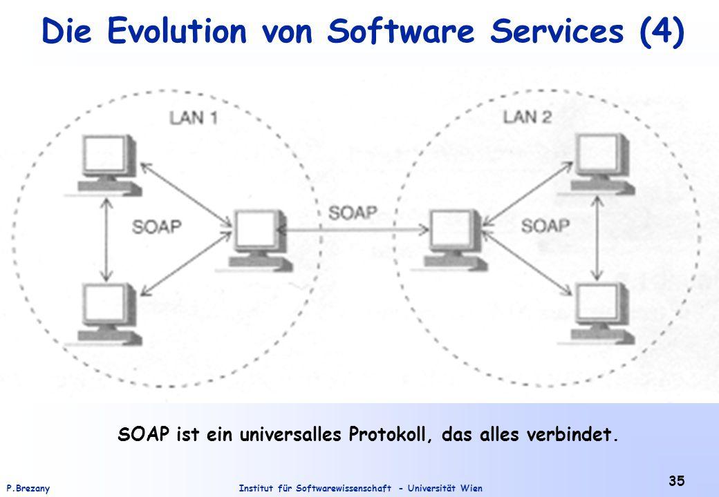 Institut für Softwarewissenschaft - Universität WienP.Brezany 35 Die Evolution von Software Services (4) SOAP ist ein universalles Protokoll, das alles verbindet.