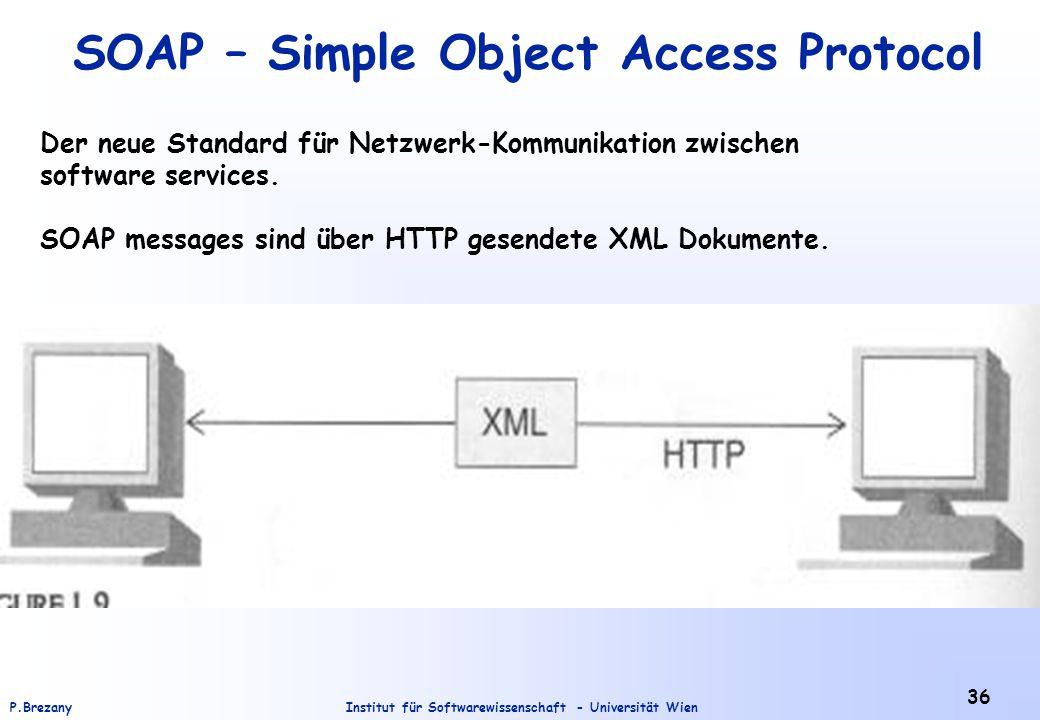 Institut für Softwarewissenschaft - Universität WienP.Brezany 36 SOAP – Simple Object Access Protocol Der neue Standard für Netzwerk-Kommunikation zwischen software services.