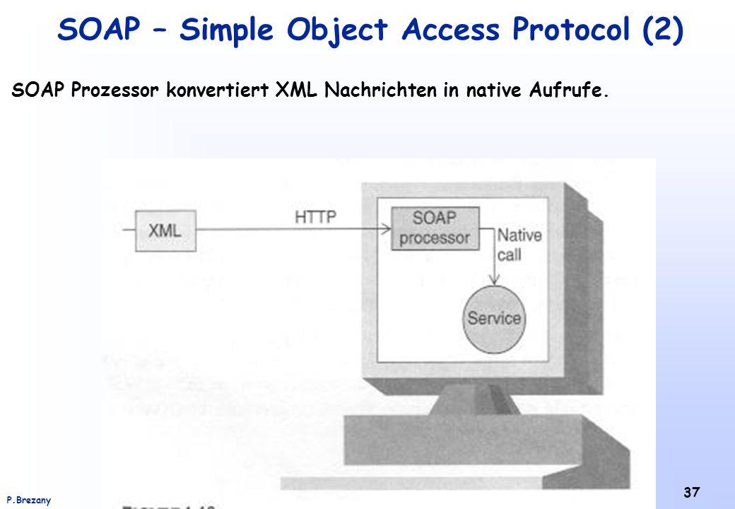 Institut für Softwarewissenschaft - Universität WienP.Brezany 37 SOAP – Simple Object Access Protocol (2) SOAP Prozessor konvertiert XML Nachrichten in native Aufrufe.