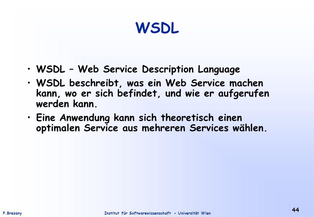 Institut für Softwarewissenschaft - Universität WienP.Brezany 44 WSDL WSDL – Web Service Description Language WSDL beschreibt, was ein Web Service machen kann, wo er sich befindet, und wie er aufgerufen werden kann.