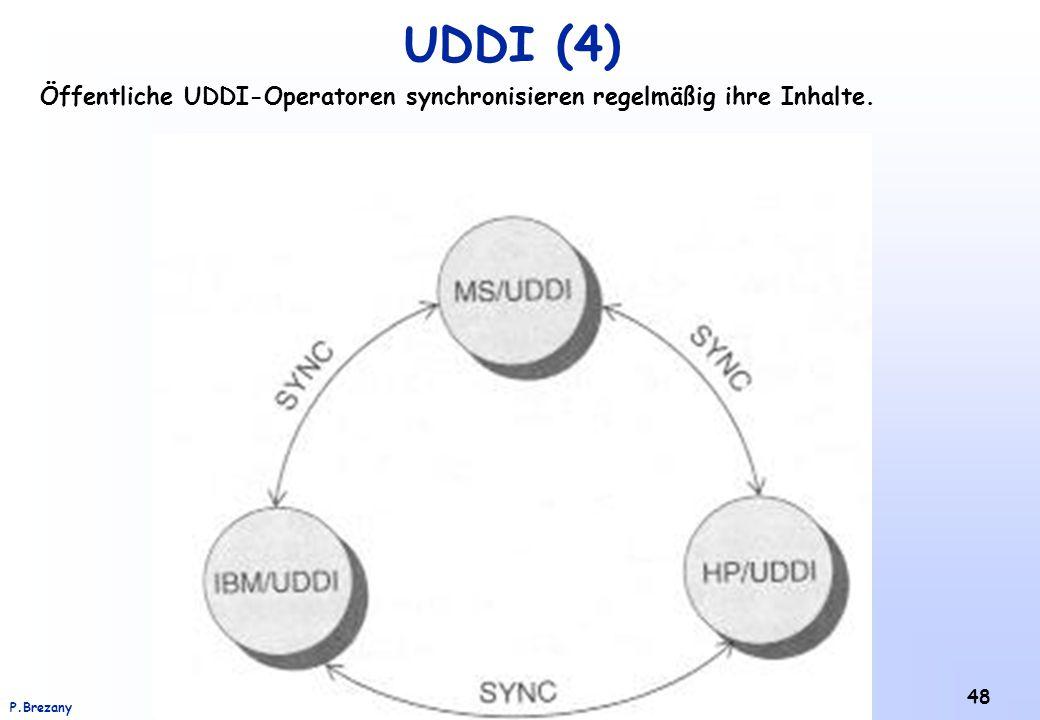 Institut für Softwarewissenschaft - Universität WienP.Brezany 48 UDDI (4) Öffentliche UDDI-Operatoren synchronisieren regelmäßig ihre Inhalte.