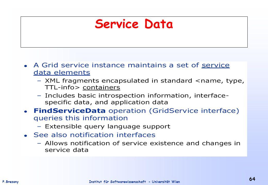 Institut für Softwarewissenschaft - Universität WienP.Brezany 64 Service Data