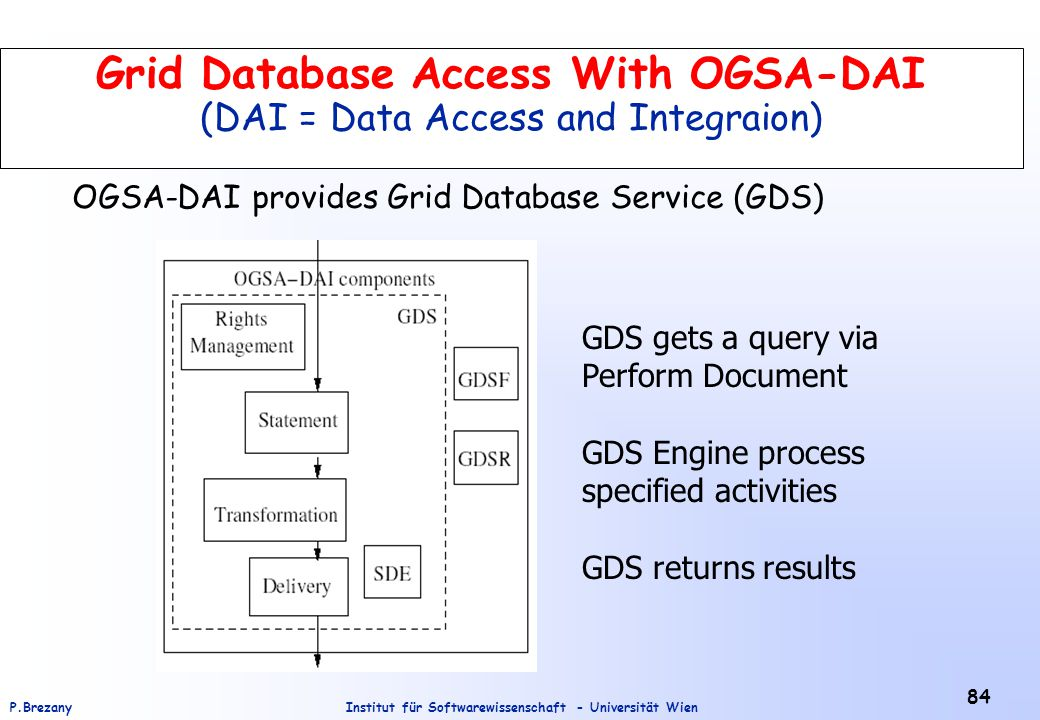 Institut für Softwarewissenschaft - Universität WienP.Brezany 84 Grid Database Access With OGSA-DAI (DAI = Data Access and Integraion) GDS gets a query via Perform Document GDS Engine process specified activities GDS returns results OGSA-DAI provides Grid Database Service (GDS)