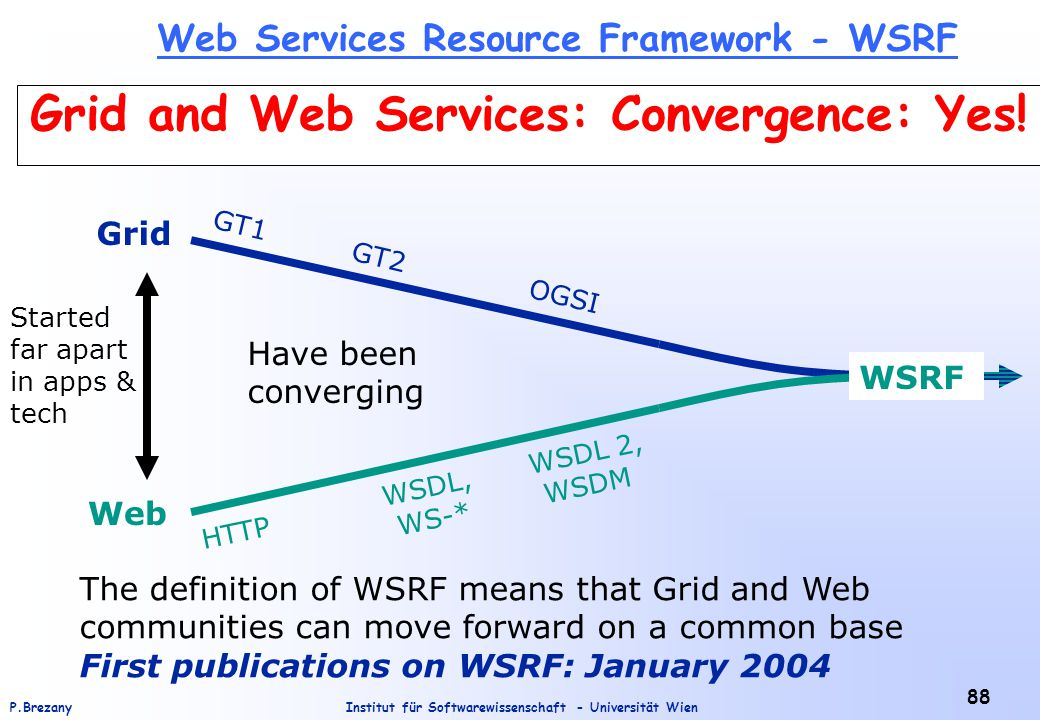 Institut für Softwarewissenschaft - Universität WienP.Brezany 88 Grid and Web Services: Convergence: Yes.