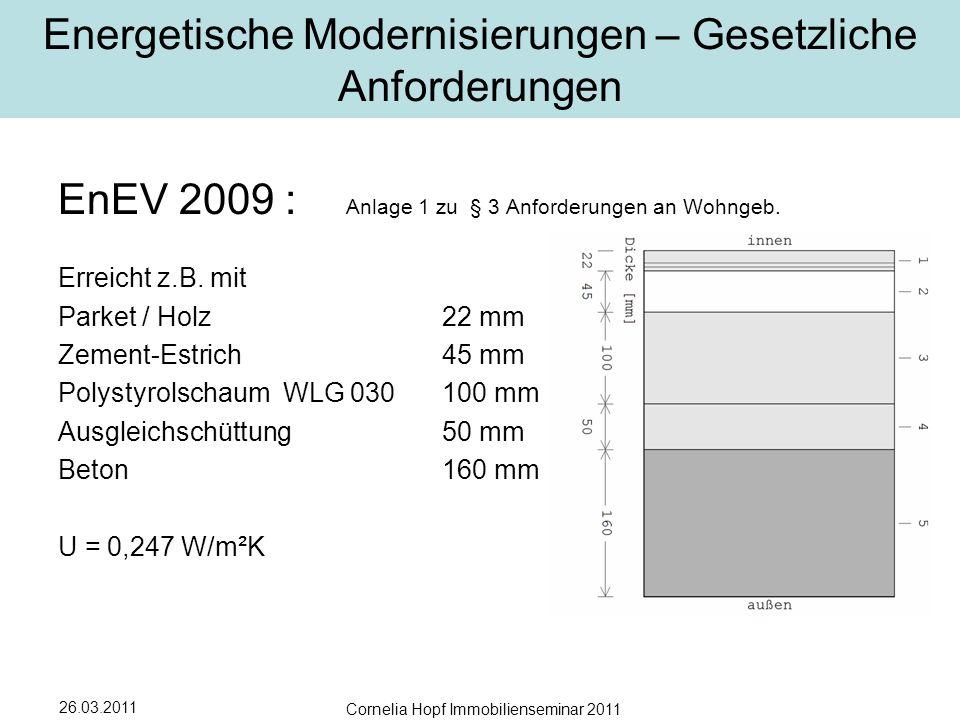 26.03.2011 Cornelia Hopf Immobilienseminar 2011 Energetische Modernisierungen – Gesetzliche Anforderungen EnEV 2009 : Anlage 1 zu § 3 Anforderungen an Wohngeb.