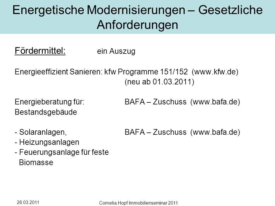 26.03.2011 Cornelia Hopf Immobilienseminar 2011 Energetische Modernisierungen – Gesetzliche Anforderungen Fördermittel: ein Auszug Energieeffizient Sanieren: kfw Programme 151/152 (www.kfw.de) (neu ab 01.03.2011) Energieberatung für:BAFA – Zuschuss (www.bafa.de) Bestandsgebäude - Solaranlagen, BAFA – Zuschuss (www.bafa.de) - Heizungsanlagen - Feuerungsanlage für feste Biomasse