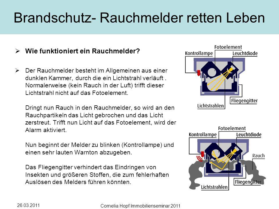 26.03.2011 Cornelia Hopf Immobilienseminar 2011 Brandschutz- Rauchmelder retten Leben  Wie funktioniert ein Rauchmelder.