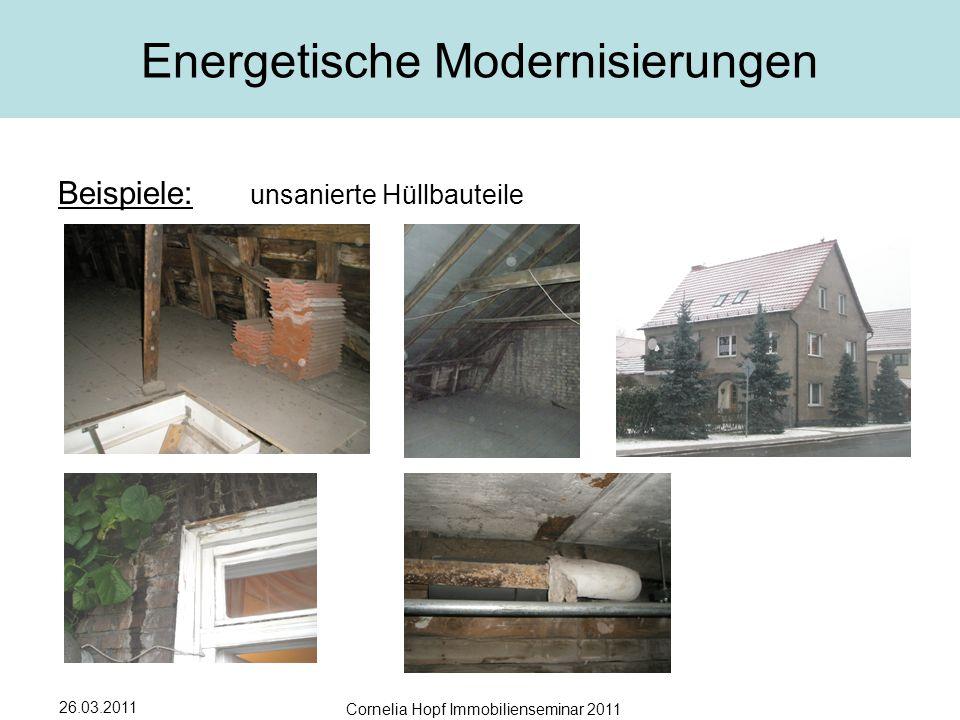 26.03.2011 Cornelia Hopf Immobilienseminar 2011 Energetische Modernisierungen Beispiele: unsanierte Hüllbauteile