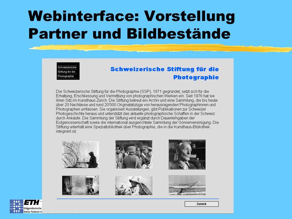 Webinterface: Vorstellung Partner und Bildbestände