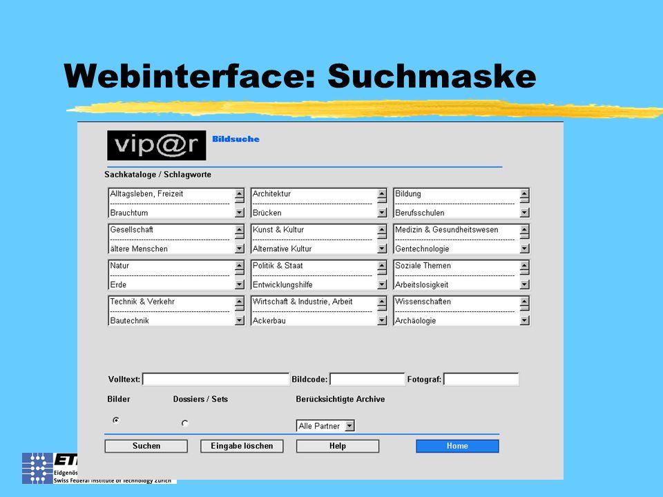 Webinterface: Suchmaske