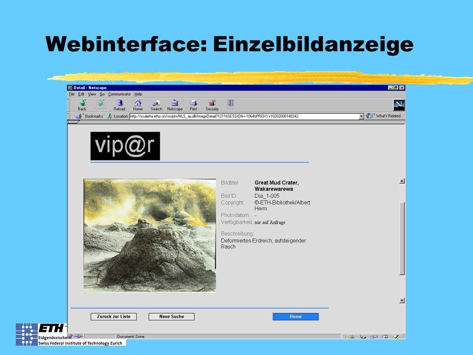Webinterface: Einzelbildanzeige