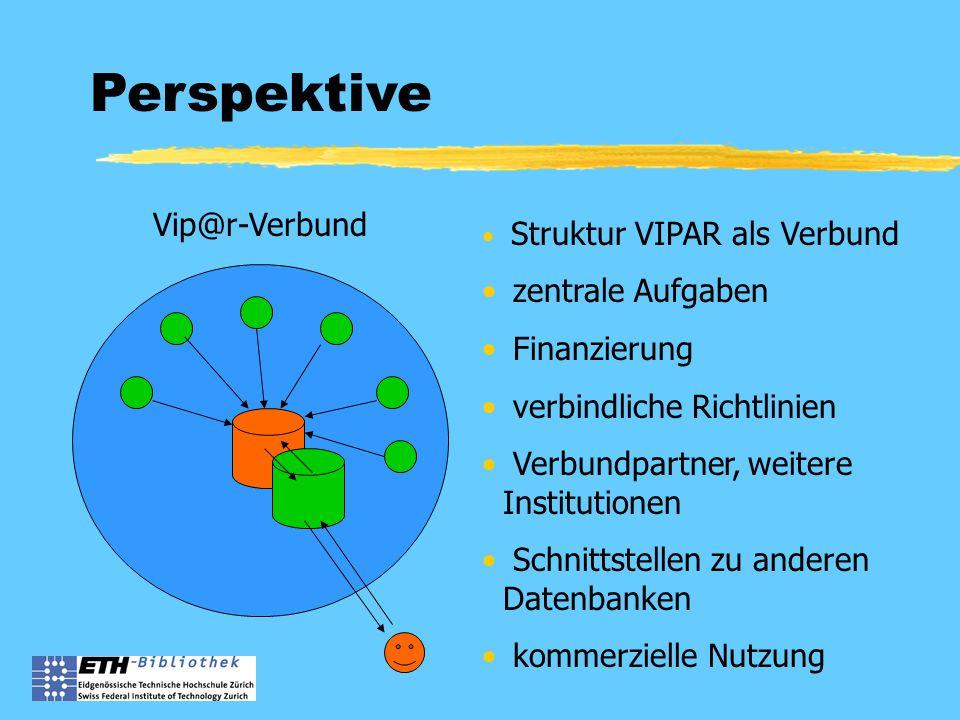 Perspektive Struktur VIPAR als Verbund zentrale Aufgaben Finanzierung verbindliche Richtlinien Verbundpartner, weitere Institutionen Schnittstellen zu anderen Datenbanken kommerzielle Nutzung Vip@r-Verbund