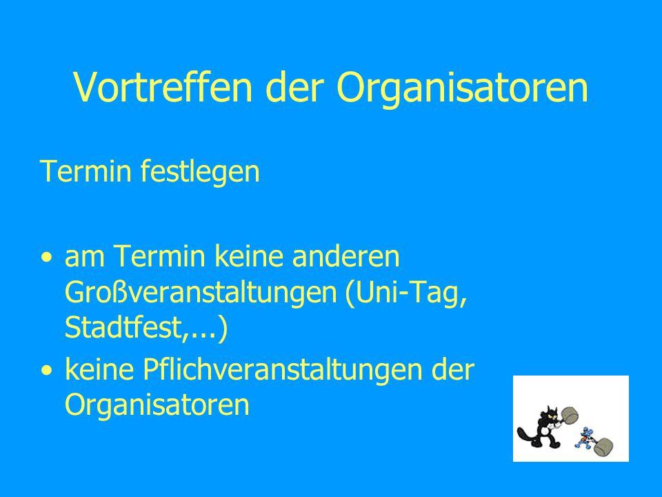Vortreffen der Organisatoren Termin festlegen am Termin keine anderen Großveranstaltungen (Uni-Tag, Stadtfest,...) keine Pflichveranstaltungen der Organisatoren