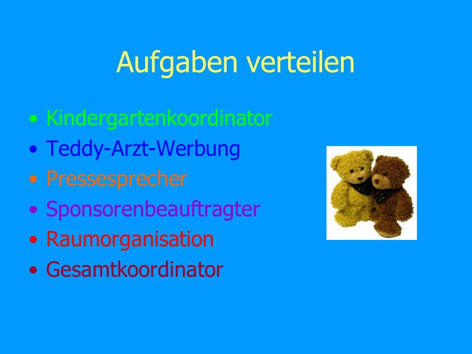 Kindergartenkoordinator lädt Kindergärten ein (siehe Briefvorlage) ist telefonisch für Kindergärten erreichbar kümmert sich um Terminvergabe Kontakt mit Teddy-Arzt-Ansprechpartner