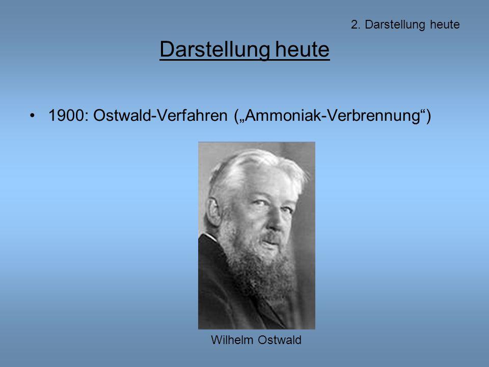 """Darstellung heute 1900: Ostwald-Verfahren (""""Ammoniak-Verbrennung ) 2."""