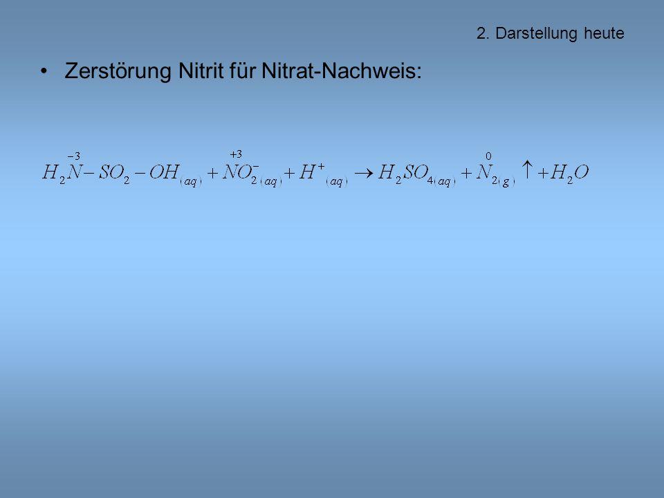 2. Darstellung heute Zerstörung Nitrit für Nitrat-Nachweis: