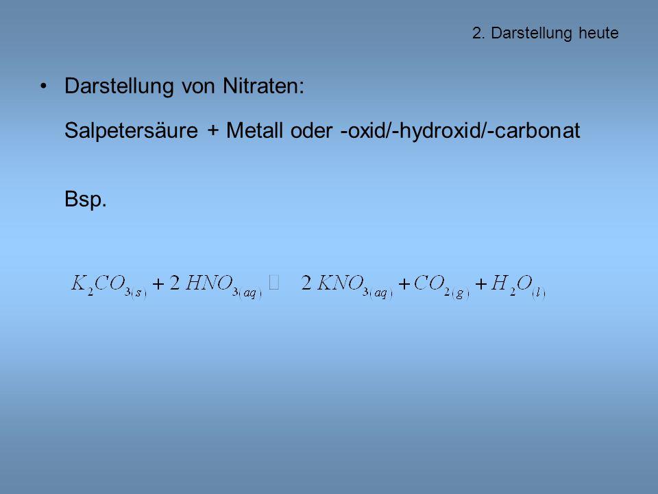 Darstellung von Nitraten: Salpetersäure + Metall oder -oxid/-hydroxid/-carbonat Bsp.