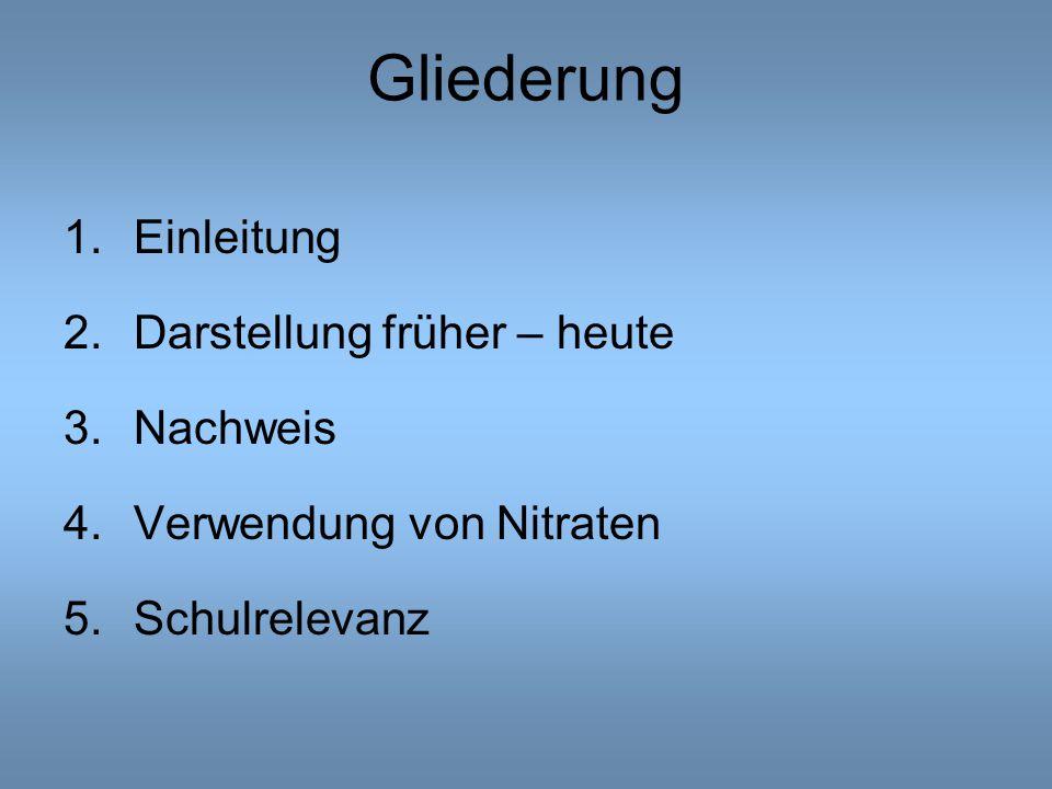 Gliederung 1.Einleitung 2.Darstellung früher – heute 3.Nachweis 4.Verwendung von Nitraten 5.Schulrelevanz