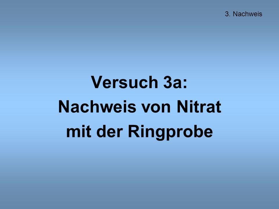 Versuch 3a: Nachweis von Nitrat mit der Ringprobe 3. Nachweis