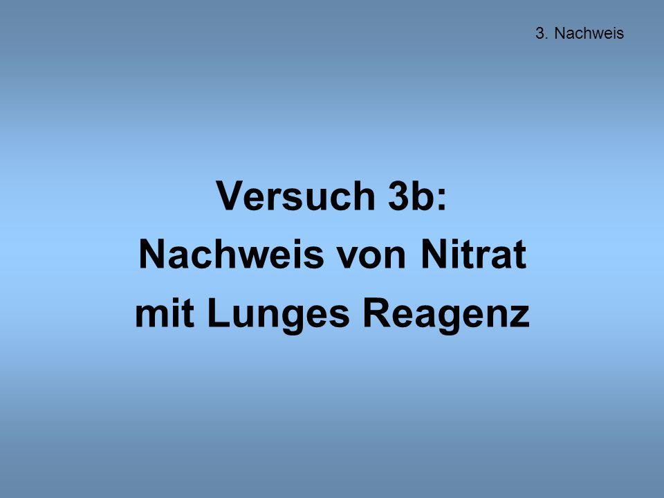 Versuch 3b: Nachweis von Nitrat mit Lunges Reagenz 3. Nachweis