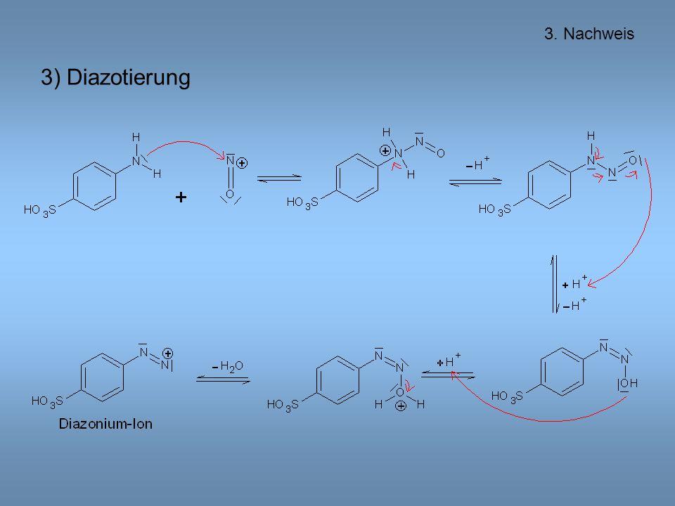 3) Diazotierung 3. Nachweis